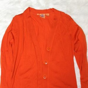 Tory Burch Orange Wool Cardigan with Metal Buttons